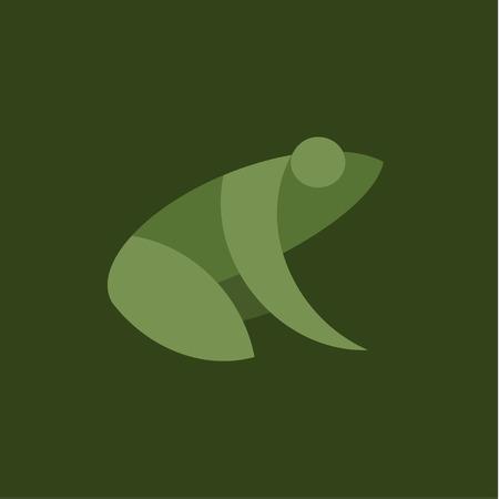 Kikker platte illustratie teken teken vector trend op groene achtergrond. Stock Illustratie