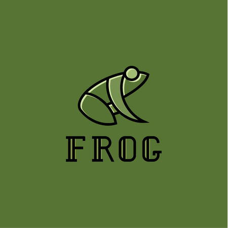 Frog illustration logos sign mark vector trend on green background. Фото со стока - 74345941