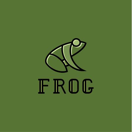 Kikker illustratie logo's teken teken vector trend op groene achtergrond. Stock Illustratie