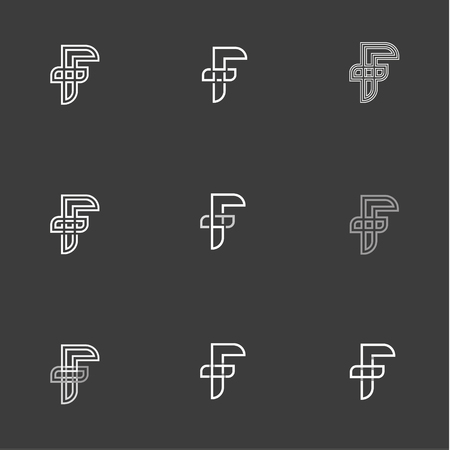Letter F set vector signs Monogram Minimalism illustration of abbreviations in Flat a linear style Modern graphics Design Фото со стока - 74278574