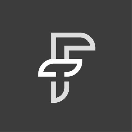 F letter abbreviation sign Heraldry mark logo vector illustrations in a modern vintage flat trend style Illusztráció