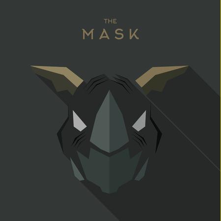 Villain Antihero Mask Hero superheld platte stijl icoon vector logo illustratie. Stock Illustratie