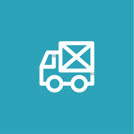 Truck mail in an envelope linear style on a blue background.