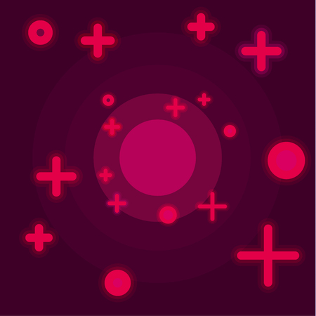 Flat Space abstract background claret color vector style with a cross in the form of stars and circles