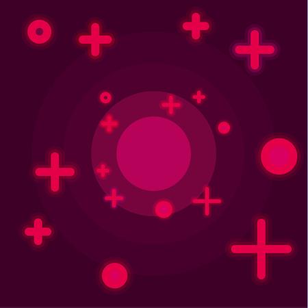 Vlakke ruimte abstracte achtergrond claret kleuren vectorstijl met een kruis in de vorm van sterren en cirkels