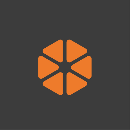 Slices abstract vector style icons logos orange flat
