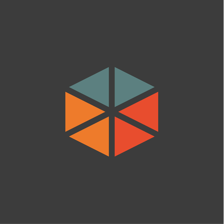 Triangular abstract logos icons in flat design orange blue colors Standard-Bild