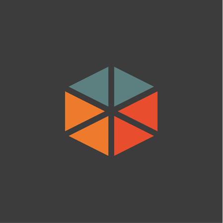 Driehoekige abstracte logo's iconen in vlakke ontwerp oranje blauwe kleuren