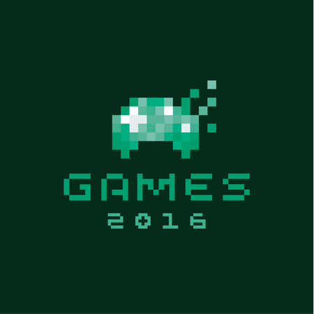 Consoles joystick vector gaming pixels flat style design on a green background 스톡 콘텐츠
