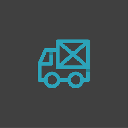Mail Truck in an envelope linear style logos on a blue background, flat design