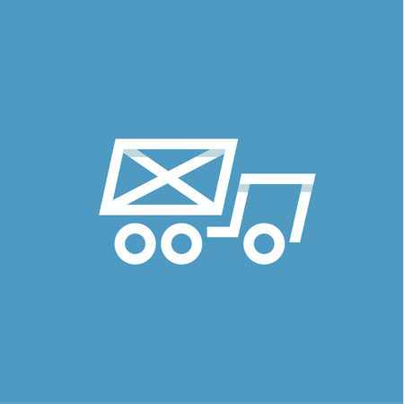 Vrachtwagen mail in een envelop lineaire stijl op een blauwe achtergrond, plat ontwerp Stock Illustratie