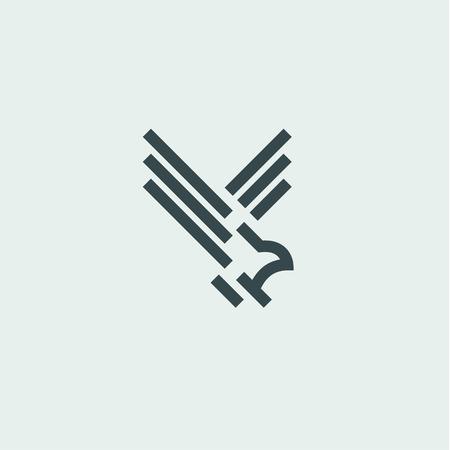 Bird in flight fauna sign logos design art style flat linear mark 일러스트
