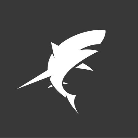 Black and White Shark icon with minimalism vector illustration of marine. 일러스트