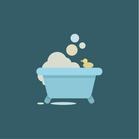 Bath Duck with soap Bubbles and Relaxing environment design flat graphics stylish, modern illustration Illustration