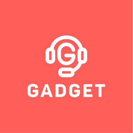 Hoofdtelefoons met letter G uit het midden van het gadget icoon ontwerp platte minimale stijl Stockfoto