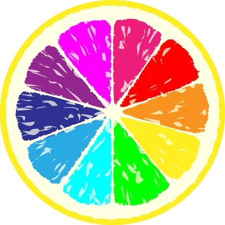 tropical fruits: lemon multi coloured illustration