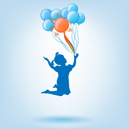 little girl flies on balloons
