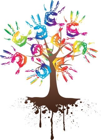 ruční strom s kořenem izolovaných na bílém Reklamní fotografie