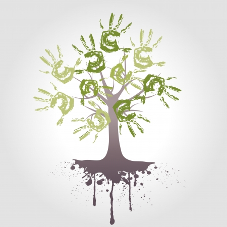 hand tree with root , vector background photo