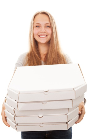Pizza delivery woman isolated on white Stock Photo - 15003369
