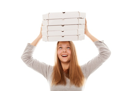 Pizza delivery woman isolated on white Stock Photo - 15003368