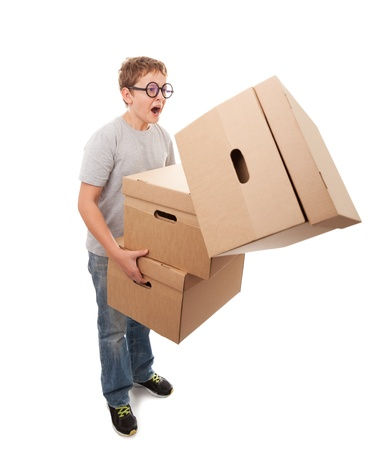 Boy holding a box, isolated over a white background
