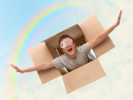 boy in a cardboard box dreams that it flies in an airplane on the sky Stock Photo - 15063739