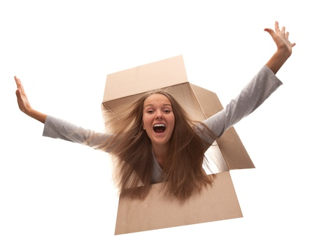 The girl in a cardboard box flies in white background Stock Photo - 15073229