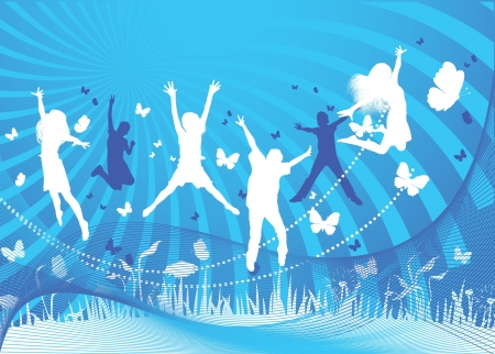 kids jumping on blue background  Stock Photo