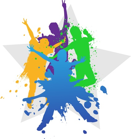 group jumping: Colorful bright ink splashes and kids jumping on blue background  Stock Photo