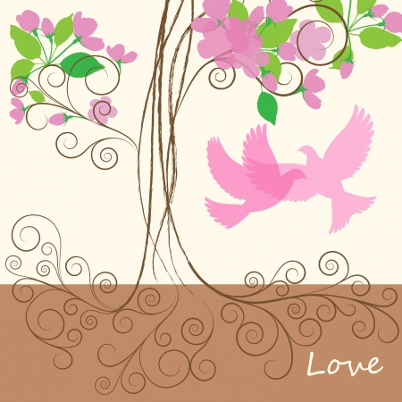beloved: Decorative pink spring tree with flowers and dove