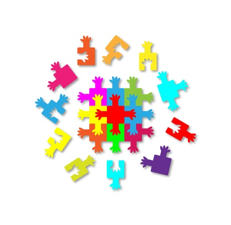 complete solution: people-puzzle isolated on a white Stock Photo