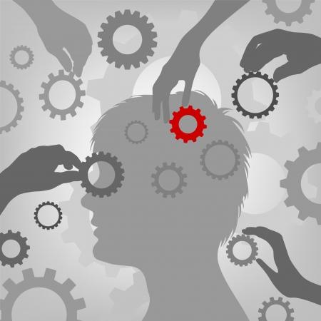 Gear Brain Head , graphic illustration