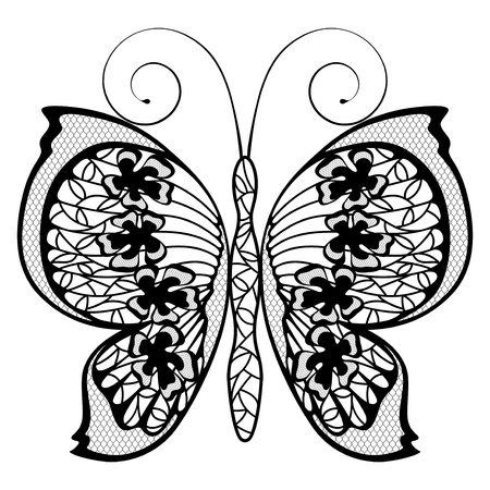 black lace butterfly on a white background, vector