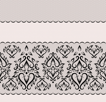 edging: black lace border on a pink