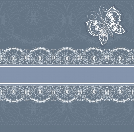 white  lace border and butterfly Stock Photo - 15708041