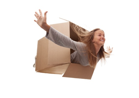 The girl in a cardboard box flies in white background Stock Photo - 15843776