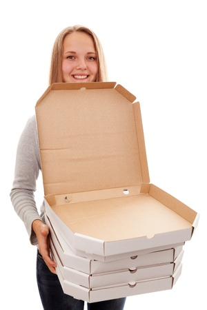 The girl smiles and has  a box for a pizza on a white background Stock Photo - 16991951