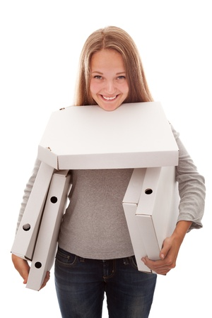 The girl smiles and has   a box for a pizza on a white background photo