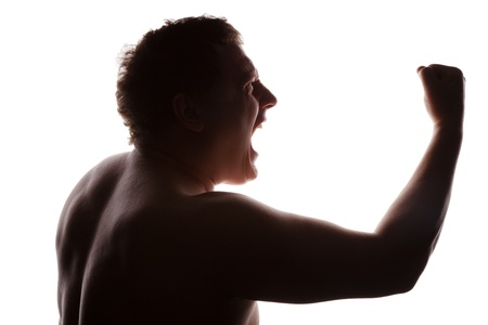 man portrait silhouette profile screaming angry in studio isolated white background Stock Photo - 17451180
