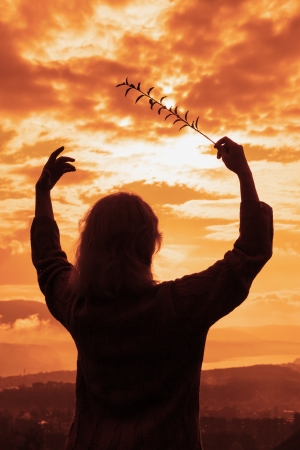 silhouette of the woman conducts a sunset Stock Photo