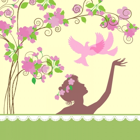 Silhouettes of  young  girl under a spring tree Illustration