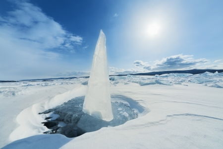 Ice sundial on ice of lake Baikal
