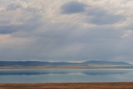 spaciousness: Lake, mountains and the sky with clouds