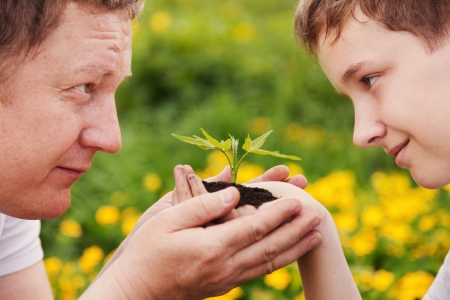man and boy holding green plant in hands  Ecology concept