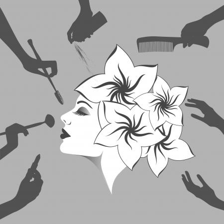 Žena profil v salonu krásy, vektorové ilustrace