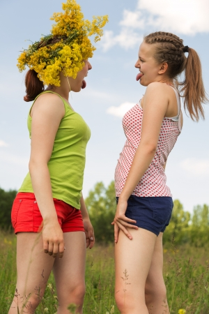 teenage girls walk and play a meadow photo