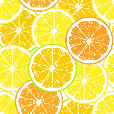 fruited: Seamless pattern of yellow lemon slices - vector illustration  Stock Photo