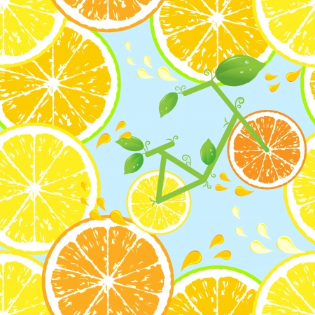 fruited: Seamless pattern of Bicycle of health with wheels from a lemon and an orange