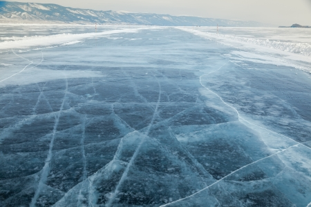 frozen lake: outdoor view of frozen baikal lake in winter